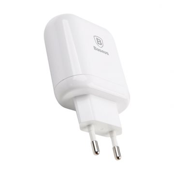 Baseus Bojure Series Dual-USB Quick Charge charger 18W - Hvid