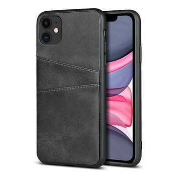 iPhone 11 Leather Cover Med lomme Sort