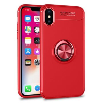 Auto Focus Apple iPhone XS / X Soft Silicone Cover  Med Ring Holder Rød