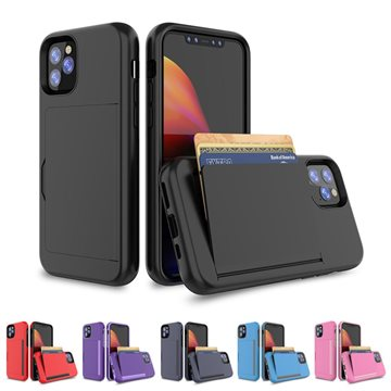iPhone 11 Hard Silikone Cover Med Kort Holder Sort